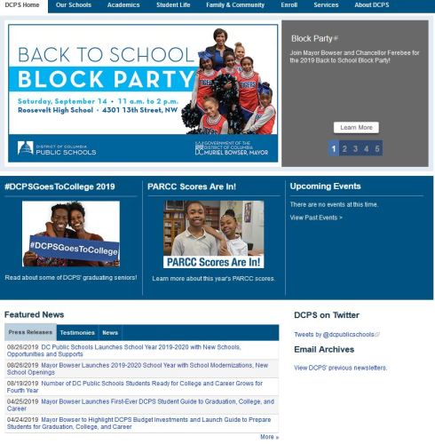 DC Public Schools Welcome Page